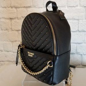 Victoria's Secret Black Studded Mini Backpack New